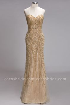 long prom dresses - PRUDENCE Mermaid Strapless Sweetheart Long Sequined Prom Dresses with Crystals Great Gatsby Prom Dresses, Pretty Dresses, Great Gatsby Gown, Gold Mermaid Prom Dresses, Gold Formal Dress, Formal Dresses, Long Dresses, 20s Dresses, Chiffon Dresses