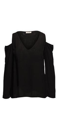 Bella Dahl Cold Shoulder V-Neck in Black / Manage Products / Catalog / Magento Admin