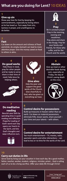 "archtoronto: ""Still not sure what you're doing for Lent? Here are 10 ideas for you to consider while preparing for Easter. Catholic Lent, Catholic Prayers, Roman Catholic, Catholic Easter, Catholic Beliefs, Christianity, Catholic Sacraments, Fast And Pray, Lenten Season"