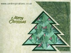 Teabag folding | How to make a beautiful Christmas tree card using tea bag folding