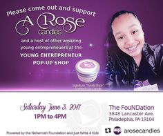 If you are in West Philly can you please come support Aniah as she sells her candles at this Young Entrepreneur's Pop-Up shop. We will be there from 1pm-4pm and would love it if you could stop by. There will be some other amazing youth selling their products as well. We are raising money for the free creative writing workshop and other programs taught there for our children. The FouNDation is located at 3848 Lancaster Ave. phila pa 19104. #Repost @arosecandles (@get_repost)  Please come…