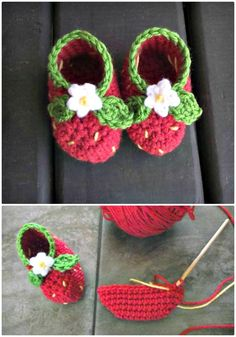 Strawberry Booties – A Free Pattern To Crochet - Crochet Baby Booties - 55 Free Crochet Patterns for Babies - DIY & Crafts