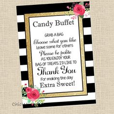 Candy Buffet Sign // 5X7 Sign // Gold Glam Sign // Black and