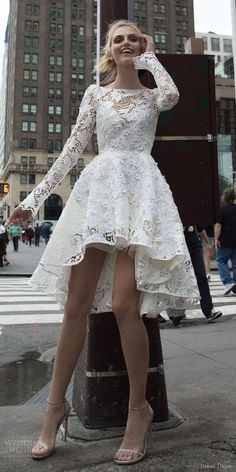 $189.99 Vintage Long Sleeves Lace High-low White Homecoming Dress,High-low Lace Prom Dress,High-low Wedding Dress