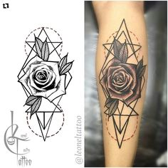 Black and grey geometric rose tattoo                                                                                                                                                                                 More