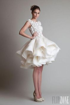 High-fashion short wedding dress - great option for the second time around