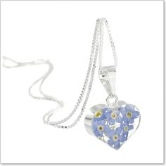 Forget Me Not Heart Pendant and Chain