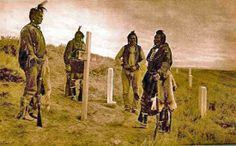 Four of Custer's scouts at site of Custer's death.   L to R (?): Goes Ahead, Harry Moccasin, Curley, and White-Man-Runs-Him. The above (colorized) photo has been attributed to various photographers and has been dated as 1890, 1906, and 1913. - Credit: wyomingtalesandtrails.com - (Photoshoped copy)