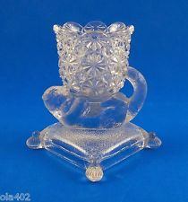 EAPG Pressed Glass Toothpick Holder Daisy and Button Cat Kitten on Pillow Unique