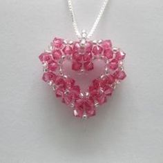 Sterling Silve Bead Woven Rose Crystal Open Heart Necklace