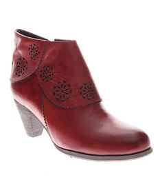 Look at this L'Artiste by Spring Step Red Linguette Leather Bootie on #zulily today!