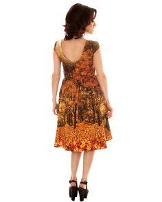 Season rockabilly dress, autumn retro dress, vintage autumn print dress