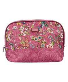 Love this Pink French Flowers Large Curved Cosmetic Bag & Pocket Mirror on #zulily! #zulilyfinds