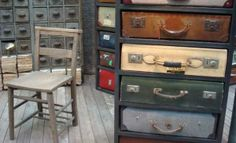 storage furniture made with old suitcases