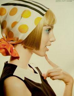 A photo of fashions by designer Mary Quant<<<<charlotte inspiration, love the head scarf Mary Quant, Fashion Mode, 1960s Fashion, Vintage Fashion, British Fashion, Girl Fashion, Style Année 60, Mode Style, 1960s Style