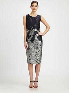 Carolina Herrera Wave-Patterned Jacquard Dress