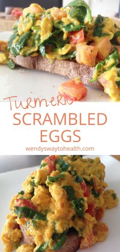 These turmeric scrambled eggs with spinach and tomatoes make a delicious and healthy weekend breakfast or brunch. They're also a perfect post-workout meal or light lunch. #healthybreakfast #weekendbreakfastideas #scrambledeggshealthy