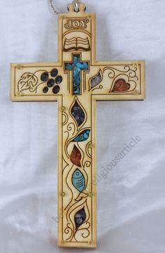 Wood Cross Medium Size Symbols Love Peace Joy Luck Flame