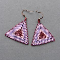 seed bead earrings | Lilac Lavender and Ruby Seed bead earrings by Anabel27shop, $17.00