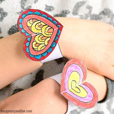 Heart Paper Bracelets for Kids - Free Printable Template - Easy Peasy and Fun