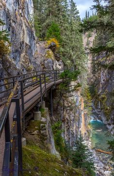 The hike up Johnson Canyon in Banff National Park is by rocky trail and metal catwalk attached to the canyon wall.