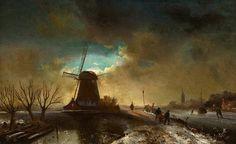 Charles Leickert - Winterlandschap tegen de avond