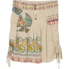 Desigual Praga Skirt (3,940 THB) ❤ liked on Polyvore featuring skirts, beige, women, desigual skirts, beige skirt, rayon skirt, paisley skirt and summer skirts