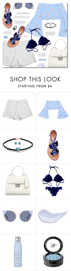 """Summer Style: Beach"" by defivirda ❤ liked on Polyvore featuring Aquazzura, Miu Miu, Fendi, Drybar and Beauty Is Life"