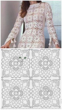 Crochet Motif Patterns, Crochet Squares, Crochet Doilies, Crochet Lace, Crochet Diagram, Booties Crochet, Crochet Long Dresses, Crochet Wedding Dresses, Crochet Clothes