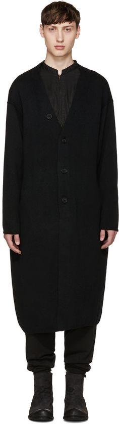 YOHJI YAMAMOTO Black Oversized Face Cardigan. #yohjiyamamoto #cloth #cardigan