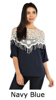 Crochet Overlay Yoke Accent Contrast Top Navy – The Purple Paisley Boutique