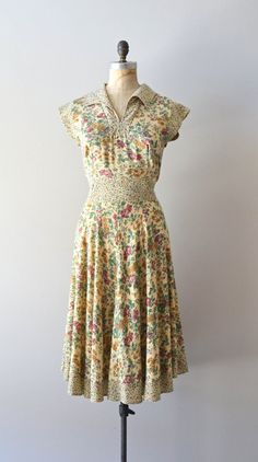 cotton 1970s dress / floral 70s dress / Bud & Twig by DearGolden, $124.00
