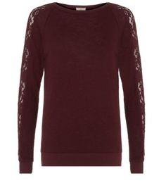 Burgundy Lace Sleeve Sweater