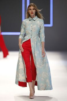 Red and blue combination Cigarette pants with long jacquard kurta