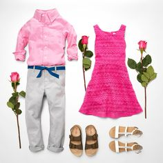Girls' fashion | Boys' fashion | Kids' clothes | Woven button-down shirt | Chino pants | Double-strap sandals | Dress | T-strap sandals | The Children's Place