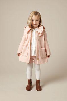 Classic Chloe kidswear styling, pastel pink winter warm duffle coat for fall 2015