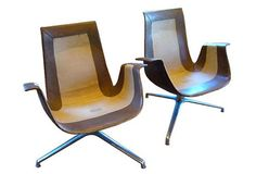 FK Leather Bucket Chairs - French cordovan leather club chairs with carved wood legs. 1964.