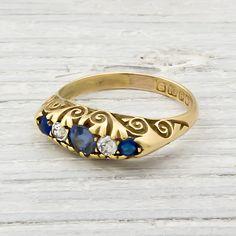 Erstwhile Jewelry Co.   18K Yellow Gold Victorian Diamond & Sapphire Engagement Ring Circa 1890