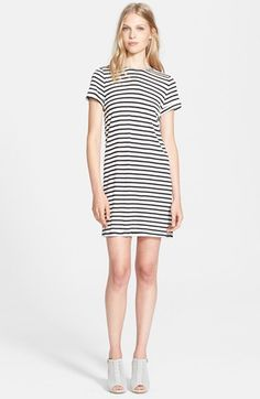 Alice + Olivia Roll Sleeve Stripe Jersey Tunic Dress available at #Nordstrom