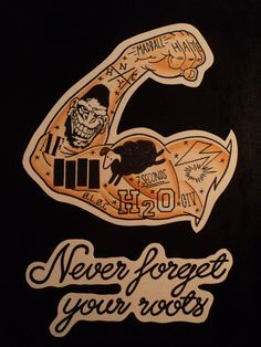 """Hardcore and traditional tattoo inspired tattooed arm print, """"Never forget your roots"""".. £10.00, via Etsy."""