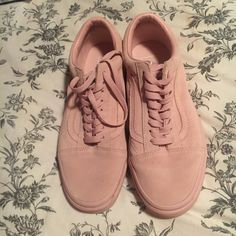 Pale pink suade old skool vans size 7. Only ever been worn a - Depop 4c02d2eda