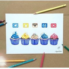 Social Media cupcakes By @colour_me_angel comment your favorite one.... _ #art#arts#artist#artistsoninstagram#artistsofinstagram#artists#artistic#artistic_share#cupcakes#draw#drawing#drawingsofinatagram#drawings#drawingoftheday#socialmediaarts#socialmedia#talnts#sketchbooks#sketchbook