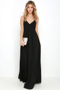 LuLu*s Exclusive! Make an award-winning entrance when you arrive in the On the Silver Screen Black Maxi Dress! Slender, adjustable spaghetti straps lead into a darted, surplice bodice and fitted empire waist. Full woven skirt flows to an entrancing maxi length. Hidden back zipper.