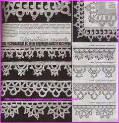 Instead of fringe Crochet Boarders, Crochet Lace Edging, Crochet Diagram, Crochet Squares, Thread Crochet, Crochet Trim, Filet Crochet, Irish Crochet, Crochet Doilies