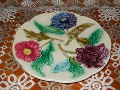 Gorgeous Antique French Majolica Plate , Floral pattern : BLUE, PURPLE, RED