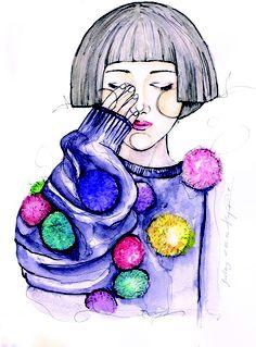pompoms, tavi gevinson, watercolor illustration