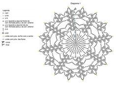 tapete-vazado-grafico-1 Crochet Snowflake Pattern, Crochet Stars, Christmas Crochet Patterns, Crochet Snowflakes, Crochet Mandala, Tapestry Crochet, Crochet Motif, Crochet Doilies, Crochet Ball