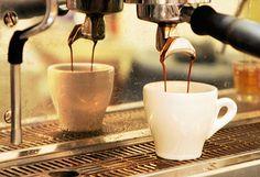 Espresso flows into a cup. #coffee