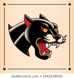 Vector Old School Style Tattoo stock vector (royalty free) Traditional Panther Tattoo, Traditional Tattoo Old School, Neo Traditional Tattoo, Traditional Flash, American Traditional, Pantera Old School, Tattoo Panther, Desenhos Old School, Old School Style