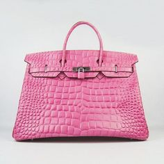 de5c050871 6099 Pink Big Crocodile Stripe Silver For Traveller Birkin Hermes In stock  Handbag New Arrival Luxury